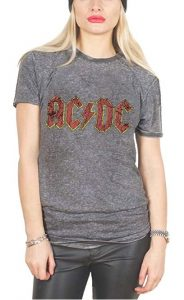 AC/DC Unisex T Shirt Grey Classic Band Logo Official