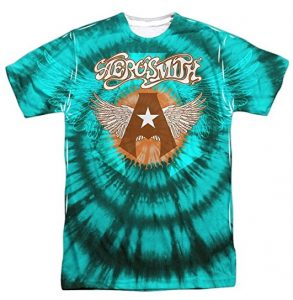 Aerosmith Music Group Star Wings Logo Tie Dye Adult Front Print T-Shirt