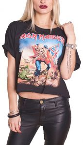 Iron Maiden T Shirt Trooper Official Womens Black Boxy Loose Fit Crop Top