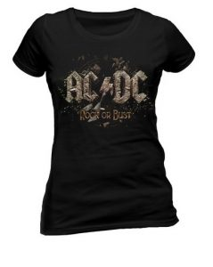 Ladies AC/DC Official Rock or Bust Heavy Metal Tee T-Shirt Top Clothing Womens SKINNY FIT