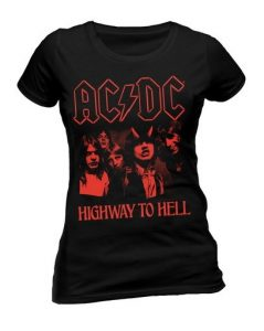 Ladies Red ACDC Official Highway to Hell Rock Heavy Metal Tee T-Shirt Top Clothing Womens SKINNY FIT