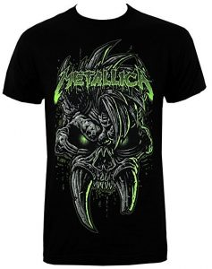 Officially Licensed Metallica Scary Guy Green Skull Men's Black T-Shirt