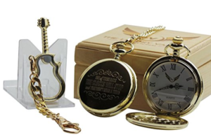Foo Fighters These Days Pocket Watch 24k Gold Coated Luxury Gift and Electric Glass Guitar Gold Plated Keyring Keychain in Wooden Gift Box Set