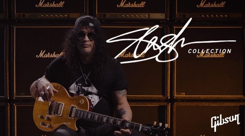 Slash signs with the New Gibson Records.